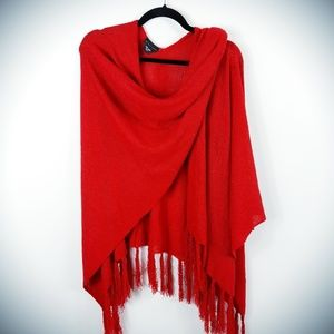 New York & Company Red Shawl Wrap Scarf